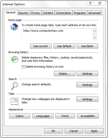 Setting the Homepage in Internet Explorer
